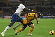 Moussa Sissoko of Tottenham Hotspur battles past Wolverhampton Wanderers defender Jonny Castro (19) during the Premier League match between Wolverhampton Wanderers and Tottenham Hotspur at Molineux, Wolverhampton, England on 3 November 2018.