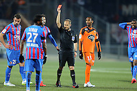 Expulsion Damien DA SILVA - 14.03.2015 - Lorient / Caen - 29eme journee de Ligue 1<br /> Photo : Vincent Michel / Icon Sport