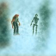 Jar Jar Binx and battle droid Star wars action figures