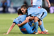 SYDNEY, NSW- NOVEMBER 21: Sydney FC forward Bobo (9) and Sydney FC midfielder Joshua Brillante (6) celebrate at the FFA Cup Final Soccer between Sydney FC and Adelaide United on November 21, 2017 at Allianz Stadium, Sydney. (Photo by Steven Markham/Icon Sportswire)