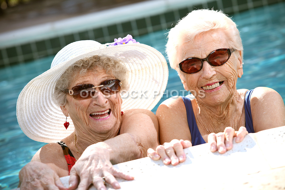Active Adult Seniors Ladies In The Pool
