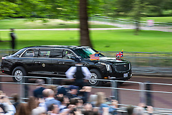 "© Licensed to London News Pictures. 03/06/2019. London, UK. President of the United States Donald Trump is driven back to Buckingham Palace in the ""Beast"".President Trump is in the UK for a three-day State Visit. Photo credit: Rob Pinney/LNP"