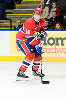KELOWNA, CANADA, JANUARY 4: Blake Gal #10 of the Spokane Chiefs skates with the puck as the Spokane Chiefs visit the Kelowna Rockets on January 4, 2012 at Prospera Place in Kelowna, British Columbia, Canada (Photo by Marissa Baecker/Getty Images) *** Local Caption ***