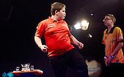 Assen, 1 februari 2015.<br /> Dutch Open Darts, Levy Frauenfelder (R) wordt kampioen bij de jongens, Wesley Hurrebrink juicht om een goede score.<br /> ANP MARTIJN BEEKMAN