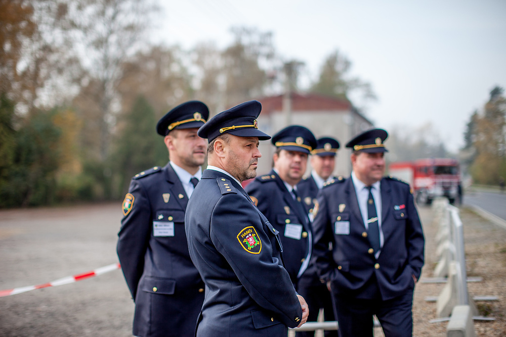 """The local fireman are waiting for Czech president Milos Zeman's before his """"meetings with citizens"""" at the village of Brasy located in the Pilsen Region.  Miloš Zeman (born 28 September 1944) is the third and current President of the Czech Republic, in office since 8 March 2013.  He announced his candidacy for the 2018 presidential elections which will be held in the Czech Republic on 12–13 January."""