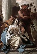Martyrdom of St Agatha' c1750.  Giovanni Battista (Gianbattista) Tiepolo (1696-1770) Venetian painter.  Agatha 3rd century Sicilian Christian virgin martyr. Figure on left holds Agatha's amputated breasts on a platter.