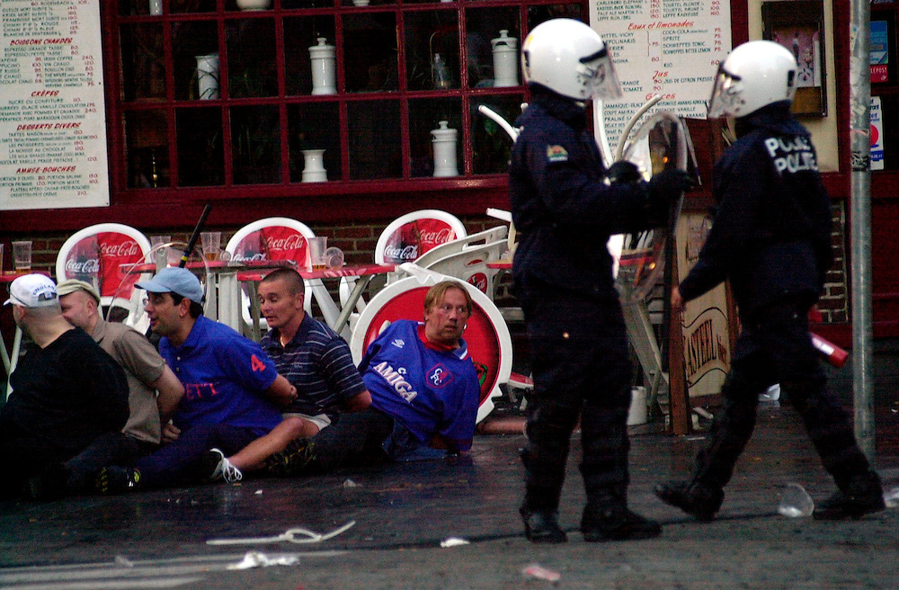 English fans arrested in brussels after clashes with police.during the  Euro 2000 Championships