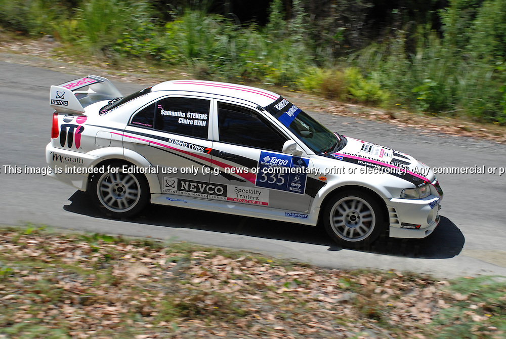 335 Samantha Stevens & Claire Ryan..1999 Mitsubishi Lancer Evolution VI.Day 1.Targa Wrest Point 2010.Southern Tasmania.30th of January 2010.(C) Sarah Biggin.Use information: This image is intended for Editorial use only (e.g. news or commentary, print or electronic). Any commercial or promotional use requires additional clearance.