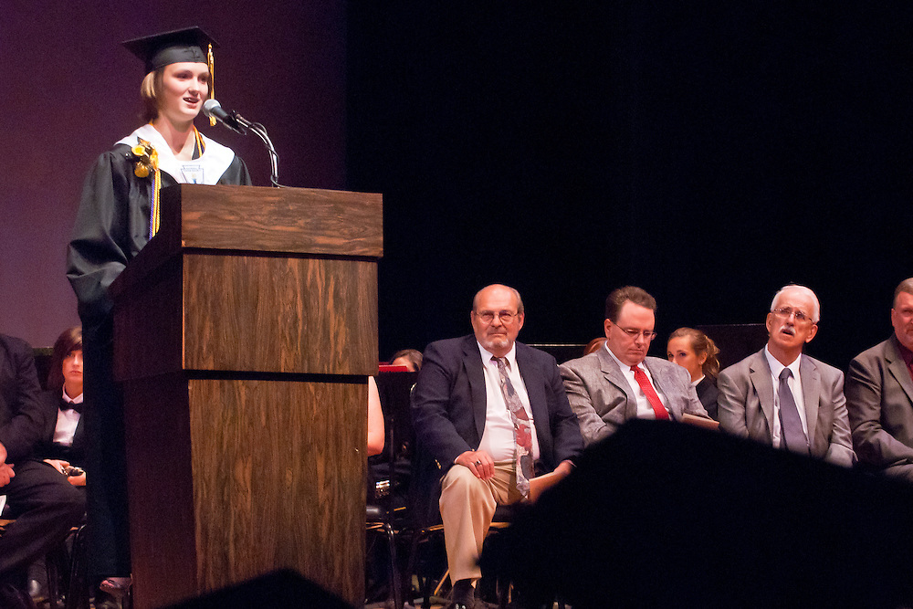 Lathan Goumas | MLive.com..Morgan Coolman speaks to her fellow graduates during the LakeVille Memorial High School commencement ceremony at the Whiting Theater in Flint, Mich. on Wednesday June 6, 2012.
