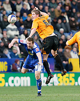 Photo: Steve Bond/Richard Lane Photography. <br />Leicester City v Hull City. Coca Cola Championship. 21/03/2008. Steve Howard (L) is beaten in the air by Michael Turner (R)