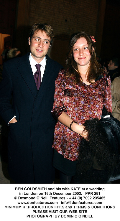 BEN GOLDSMITH and his wife KATE at a wedding in London on 16th December 2003.PPR 251