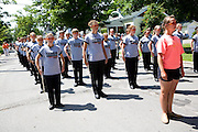 The Oregon Marching Band marches it the National Cherry Festival parade in Traverse City, Michigan on July 12, 2008.