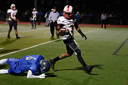 In the PIAA State Championship Imhotep Panthers advance to the Semi Finals with a 46-16 win over Academy Park Knights. (photo by Bastiaan Slabbers)<br /> <br /> Panthers #3 looks over his shoulder as he passes Knights #6 on his way to the end zone. P3 tried to pass but made his way to a TD without help of other Panthers. CHECK FACT]