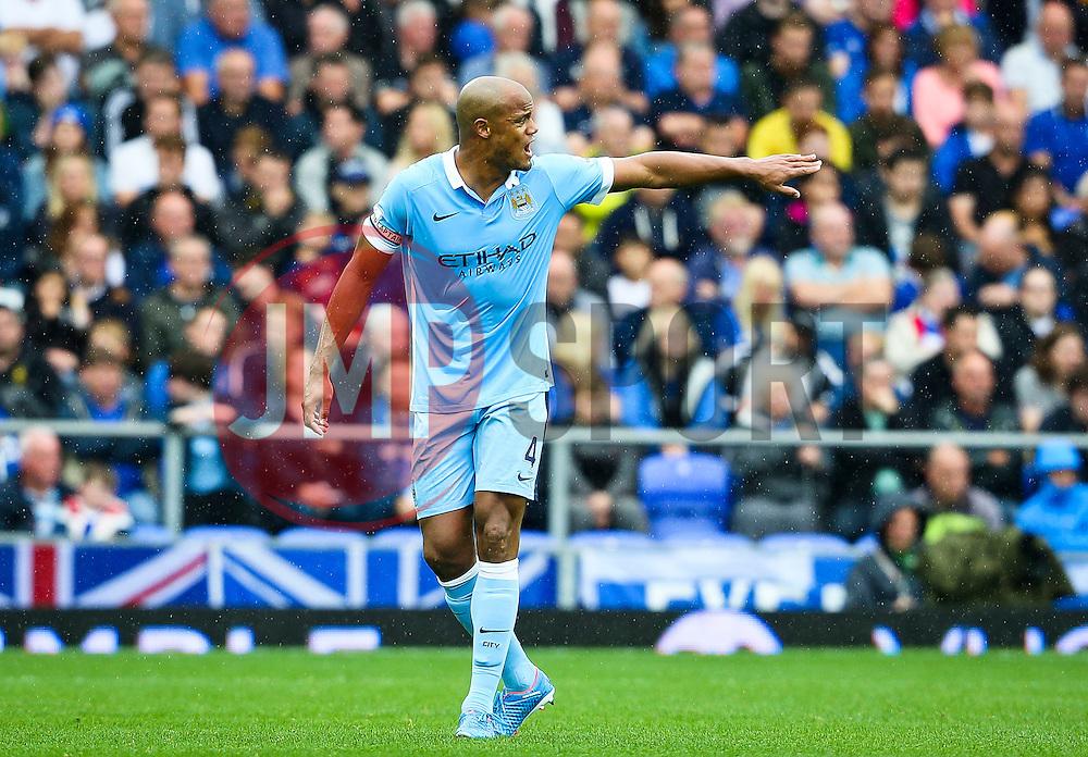Manchester City captain, Vincent Company encourages his team mates - Mandatory byline: Matt McNulty/JMP - 07966386802 - 23/08/2015 - FOOTBALL - Goodison Park -Everton,England - Everton v Manchester City - Barclays Premier League