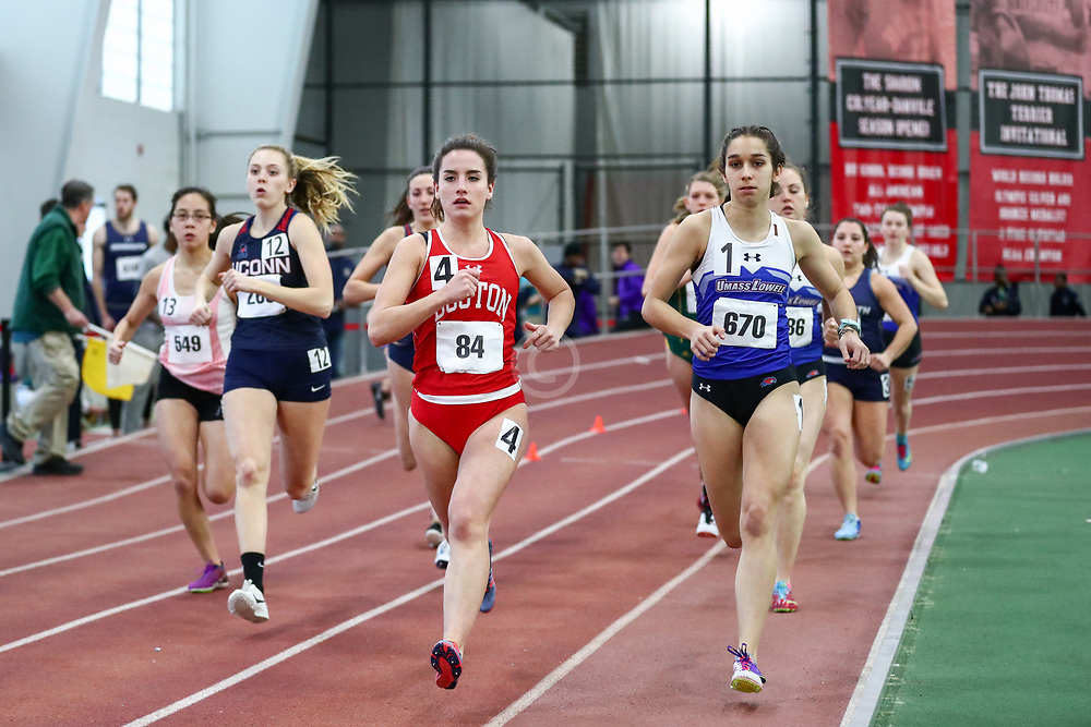 women Mile, BU, Kalie Mathis<br /> Boston University Scarlet and White<br /> Indoor Track & Field, Bruce LeHane