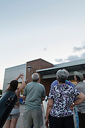 Middletown, New York - People try to spot the planet Venus in the twilight sky during an astronomy program on viewing constellations and planets at the Rowley Center for Science and Engineering on the Middletown campus on May 12, 2015. The program was run by SUNY Orange adjunct assistant professor Tom Blon and sponsored by SUNY Orange Cultural Affairs.
