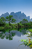 Karst relections along the Dragon River near Yangshuo.
