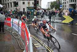 Lucinda Brand (NED) of Team Sunweb leans into a corner on Trafalgar Square during the Prudential Ride London Classique - a 66 km road race, starting and finishing in London on July 29, 2017, in London, United Kingdom. (Photo by Balint Hamvas/Velofocus.com)