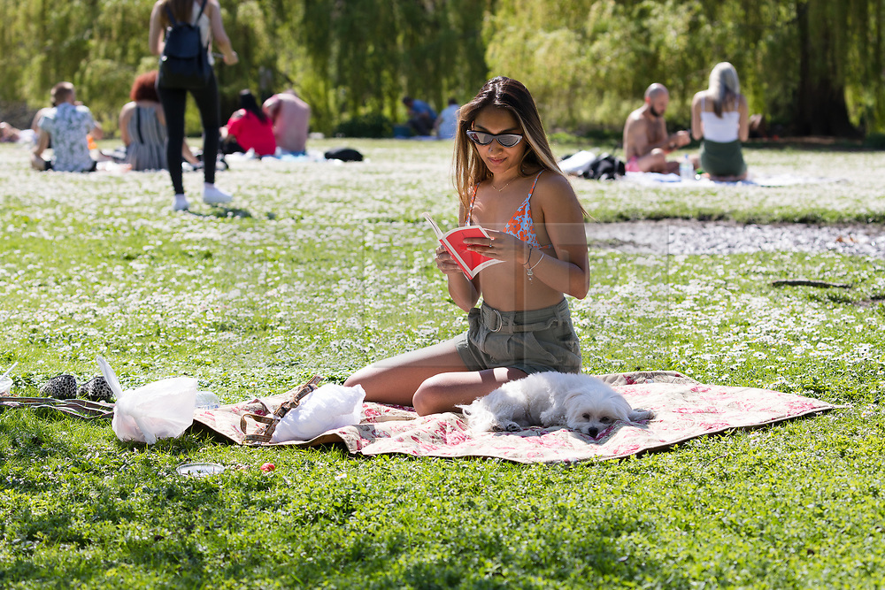 © Licensed to London News Pictures. 19/04/2018. London, UK. A woman and her dog enjoy the hot weather in Regents Park in London at lunchtime today. Photo credit: Vickie Flores/LNP