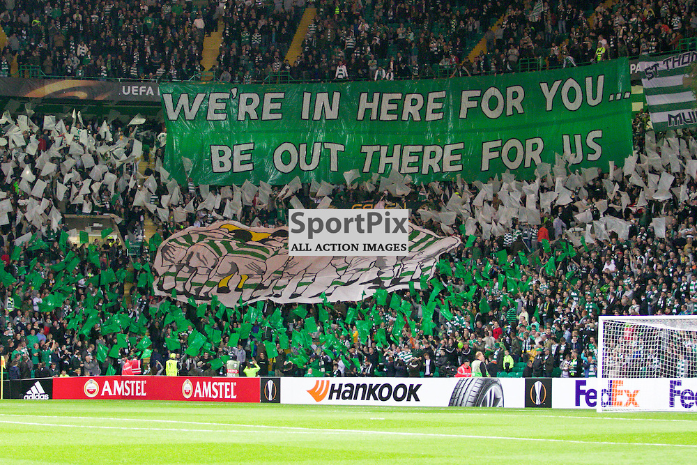 The celtic support have another display before the Glasgow Celtic FC v Fenerbahe S.K Europa League Group A 1st October 2015 ©Edward Linton | SportPix.org.uk
