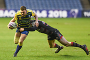 Blair Kinghorn gets a grip of Owen Lake during the European Rugby Challenge Cup match between Edinburgh Rugby and Cardiff Blues at BT Murrayfield Stadium, Edinburgh, Scotland on 31 March 2018. Picture by Kevin Murray.