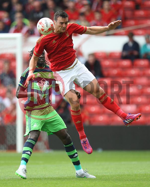 Jack Hobbs of Nottingham Forest (R) in action<br /> <br />  - Mandatory by-line: Jack Phillips/JMP - 25/07/2015 - SPORT - FOOTBALL - Nottingham - The City Ground - Nottingham Forest v Swansea - Pre-Season Friendly