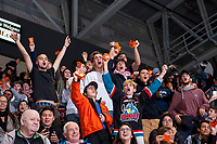 KELOWNA, CANADA - NOVEMBER 17: Fans celebrate a goal by the Kelowna Rockets against the Lethbridge Hurricanes on November 17, 2017 at Prospera Place in Kelowna, British Columbia, Canada.  (Photo by Marissa Baecker/Shoot the Breeze)  *** Local Caption ***
