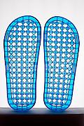 underside of plastic slippers
