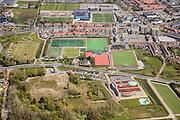 luchtfoto Sportvelden Noordwijk binnen  Nieuwe Zeeweg en zwembad BinnenZee
