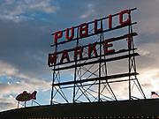 Pike Street Public Market Center neon sign in downtown Seattle, Washington, USA.