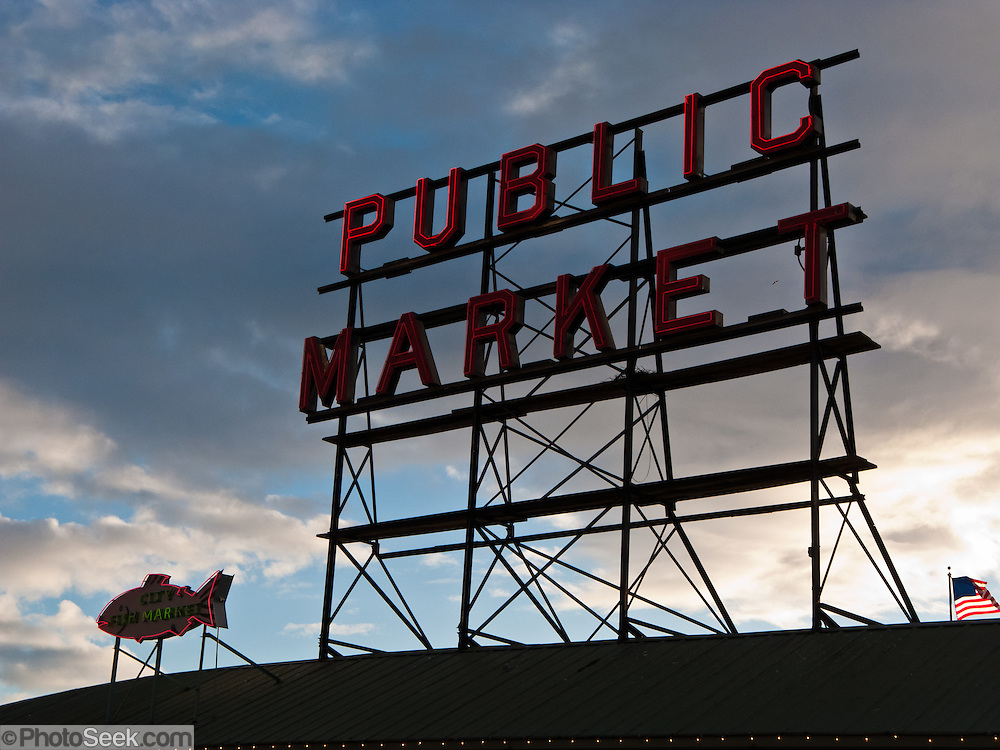 Pike Street Public Market Center neon sign in downtown Seattle, Washington, USA.