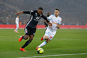 Lucas Ocampos of Olympique de Marseille and Marcelo of Olympique Lyonnais during the French Championship Ligue 1 football match between Olympique de Marseille and Olympique Lyonnais on march 18, 2018 at Orange Velodrome stadium in Marseille, France - Photo Philippe Laurenson / ProSportsImages / DPPI