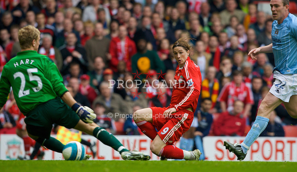 LIVERPOOL, ENGLAND - Sunday, May 4, 2008: Liverpool's Fernando Torres scores the opening goal, his 23rd of the season, to equal the record of most goals scores in a debut season by a foreign player, as he slots past Manchester City's goalkeeper Joe Hart during the Premiership match at Anfield. (Photo by David Rawcliffe/Propaganda)