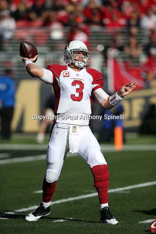 Arizona Cardinals quarterback Carson Palmer (3) throws a first quarter pass during the 2015 week 12 regular season NFL football game against the San Francisco 49ers on Sunday, Nov. 29, 2015 in Santa Clara, Calif. The Cardinals won the game 19-13. (©Paul Anthony Spinelli)
