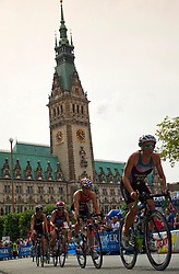 TRIATHLON: ITU World Championship Hamburg 2011, Hamburg, 17.07.2011 Elite Frauen, Radfahren, Mateja SIMIC (SLO, 45)  vor dem Hamburger Rathaus<br /> Photo by Pixathlon / Sportida Photo Agency
