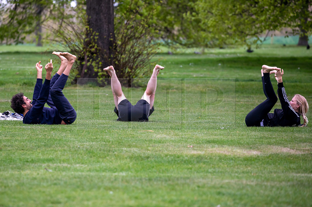 © Licensed to London News Pictures. 17/04/2020. London, UK. Members of the public exercise in Hyde Park which was quiet today as Police continue to patrol the parks enforcing lockdown rules on social distancing and exercise. Photo credit: Alex Lentati/LNP