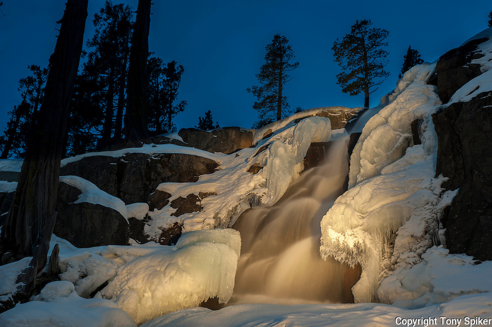 """Winter Evening at Eagle Falls 1"" - A long exposure photograph of Eagle Falls on a winter evening lit by light painting"