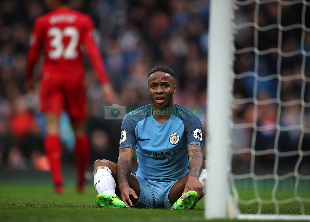 Manchester City's Raheem Sterling reacts after missing a chance on goal during the Premier League match at the Etihad Stadium, Manchester.