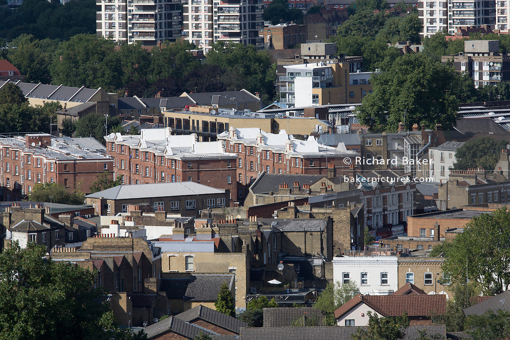 Aerial view of south London looking from Camberwell towards Victorian housing and more modern housing estate.