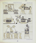 Ancient Egyptian fashion and accessories from Geschichte des kostüms in chronologischer entwicklung (History of the costume in chronological development) by Racinet, A. (Auguste), 1825-1893. and Rosenberg, Adolf, 1850-1906, Volume 1 printed in Berlin in 1888