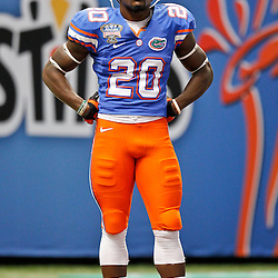 Jan 2, 2013; New Orleans, LA, USA; Florida Gators defensive back Marcus Maye (20) before the Sugar Bowl against the Louisville Cardinals e Mercedes-Benz Superdome. Louisville defeated Florida 33-23. Mandatory Credit: Derick E. Hingle-USA TODAY Sports