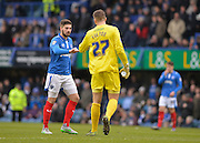 Portsmouth goalkeeper Ryan Fulton and Portsmouth defender Kieron Freeman during the Sky Bet League 2 match between Portsmouth and Leyton Orient at Fratton Park, Portsmouth, England on 6 February 2016. Photo by Adam Rivers.