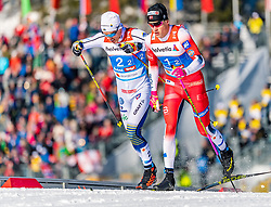 24.02.2019, Langlauf Arena, Seefeld, AUT, FIS Weltmeisterschaften Ski Nordisch, Seefeld 2019, Langlauf, Herren, Teambewerb, im Bild v.l. Calle Halfvarsson (SWE), Johannes Hoesflot Klaebo (NOR) // f.l. Calle Halfvarsson of Sweden and Johannes Hoesflot Klaebo of Norway during the men's cross country team competition of FIS Nordic Ski World Championships 2019 at the Langlauf Arena in Seefeld, Austria on 2019/02/24. EXPA Pictures © 2019, PhotoCredit: EXPA/ Stefan Adelsberger