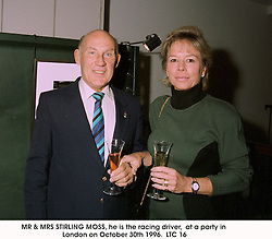 MR & MRS STIRLING MOSS, he is the racing driver,  at a party in London on October 30th 1996. LTC 16