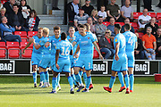 Ryan Broom scores his second goal of the game and celebrates  during the EFL Sky Bet League 2 match between Salford City and Cheltenham Town at Moor Lane, Salford, United Kingdom on 14 September 2019.