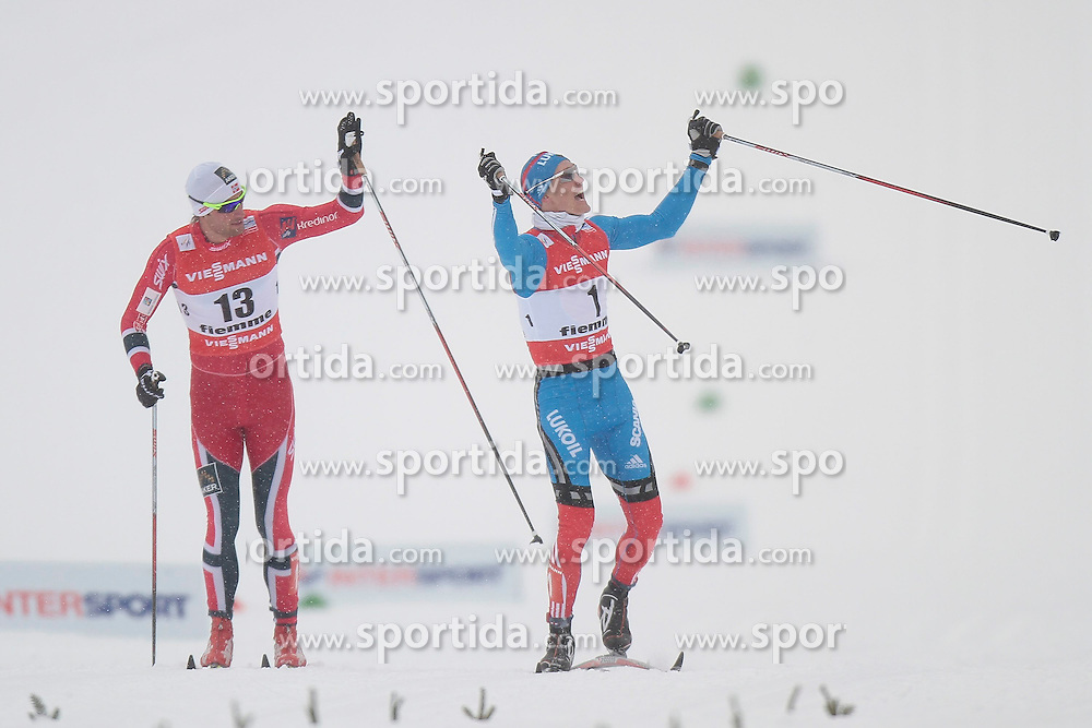 21.02.2013, Langlaufstadion, Lago di Tesero, ITA, FIS Weltmeisterschaften Ski Nordisch, Langlauf Herren, Sprint, im Bild Nikita Kriukov (RUS) // Nikita Kriukov of Russia and Petter Jun. Northug (NOR) // Petter Jun. Northug of Norway during the Mens Cross Country Sprint of the FIS Nordic Ski World Championships 2013 at the Cross Country Stadium, Lago di Tesero, Italy on 2013/02/21. EXPA Pictures ©  2013, PhotoCredit: EXPA/ Federico Modica