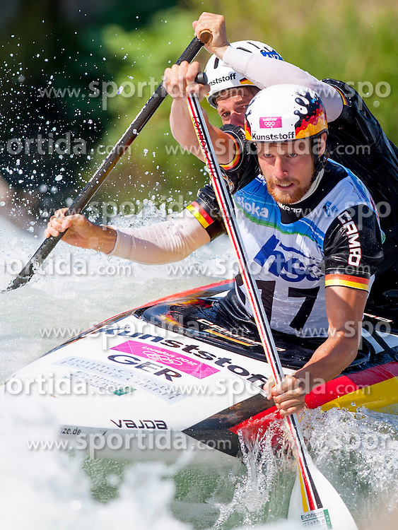 Frank Henze and David Schroeder of Germany during Canoe (C2) Man semi-final race at ICF Canoe Slalom World Cup Sloka 2013, on August 18, 2013, in Tacen, Ljubljana, Slovenia. (Photo by Urban Urbanc / Sportida.com)