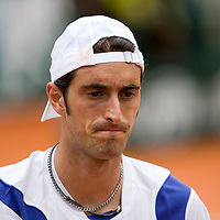 01 June 2007: Italian player Potito Starace is seen during the French Tennis Open third round match won by Roger Federer 6-2, 6-3, 6-0 at Roland Garros, in Paris, France.