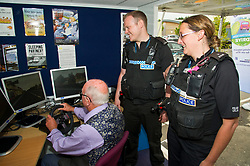 Pictured: Ian Edwards (76) was relaxed despite being watched by PC Brian McGuff and PC Heather Still<br /> <br /> Destination Drive launch. The initiative aims to help older drivers stay safe on the road. Open invitation to first drop-in session where you can get a free assessment drive and try the current theory and hazard perception tests. <br /> <br /> Ger Harley | EEm 12 June 2018