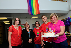 Pictured is, from left, Elizabeth Alsop, mail centre manager Su Redshaw, Christine Tyler, Matt Bellamy and Carol Arlow.<br /> <br /> Royal Mail's Peterborough Mail Centre held their first ever Pride Day to raise money for the Albert Kennedy Trust.  The charity specialises in homelessness amongst the LGBT community, particularly aged 16-25. <br /> <br /> Picture: Chris Vaughan Photography<br /> Date: August 25, 2017